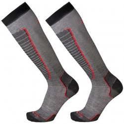 MICO 230 Light weight - Basic Ski socks - Black/Red
