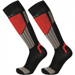 MICO 112 Light weight Natural Merino ski socks - Black/Red