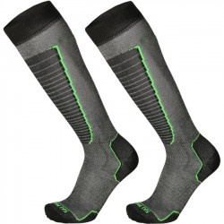 MICO 230 Light weight - Basic Ski socks - Black/Green fluo