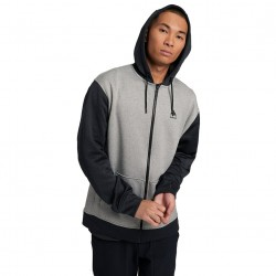 BURTON OAK - Men's Full Zip Hoodie - Gray Heather/True Black