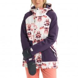 BURTON Eastfall - Women's snowboard Jacket - Stout White Stylus/Purple Velvet