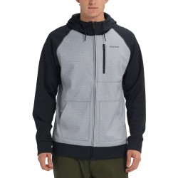BURTON Crown Bonded Men's Full-Zip Hoodie - Gray Heather/True Black
