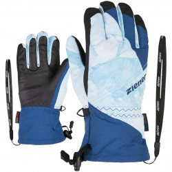 ZIENER AGIL AS® Z-Leash - Junior Ski Gloves - Blue mountain/Print nautic