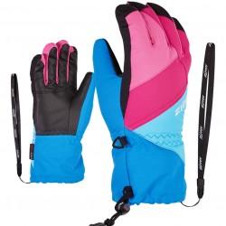 ZIENER AGIL AS® Z-Leash - Junior Ski Gloves - French Blue/Aqua