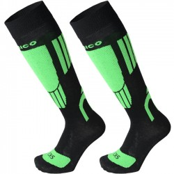 MICO 2608 Light weight - KIDS natural merino ski socks - Black Green fluo