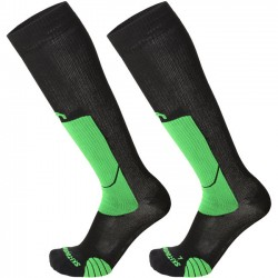 MICO 280 Light weight - Professional Ski Touring socks - Black/Green fluo