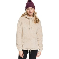 ROXY Pluma Sherpa - Women's Half-Zip Sherpa Hoodie - Oyster Gray