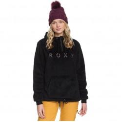 ROXY Pluma Sherpa - Women's Half-Zip Sherpa Hoodie - True Black