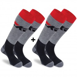 K2 ALL-ROUND 2 pack 14351 - Ski socks - Black/Grey melange/Red