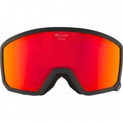 ALPINA  Scarabeo Hicon Mirror Cylindrical - Μάσκα Ski/Snowboard - Black matt/Red