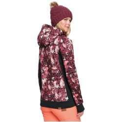 ROXY Frost Printed - Technical Zip-Up Hoodie for Women - Oxblood Red Leopold