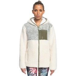 ROXY Want It Back - Women's Zip-Up Sherpa Fleece - Tapioca