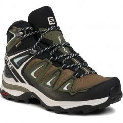 SALOMON X ULTRA 3 MID GTX W - Γυναικεία ορειβατικά Μποτάκια - Olive Night/Black/Icy Morn