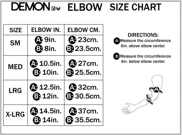 DEMON ELBOW SIZE CHART