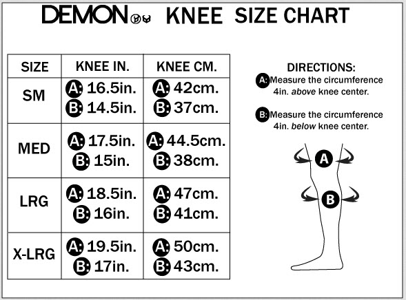 DEMON KNEE SIZE CHART