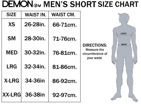 DEMON MENS SHORT SIZE CHART