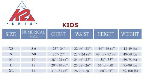 K2 KIDS SIZE CHART