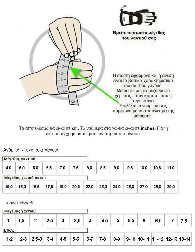 ZIENER gloves size chart
