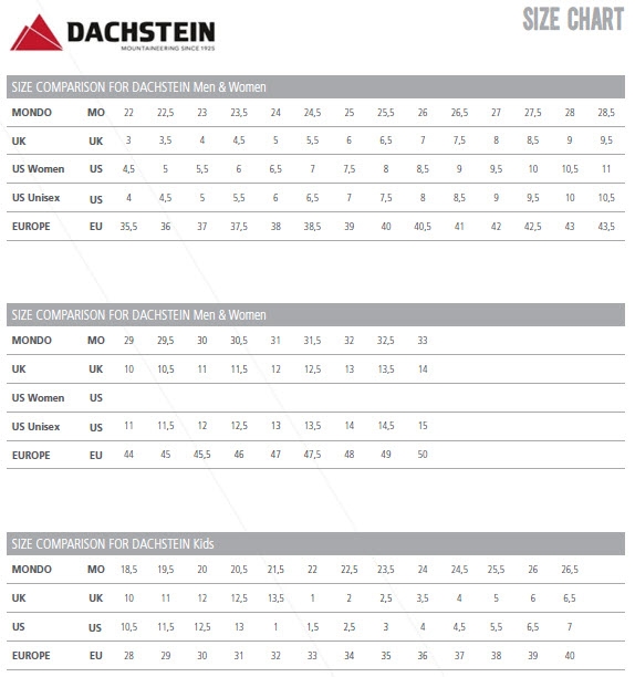 DACHSTEIN SHOES SIZE CHART A