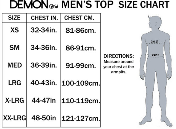 DEMON MENS TOP SIZE CHART