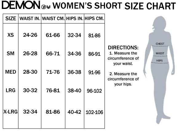 DEMON WOMENS SHORTS SIZE CHART